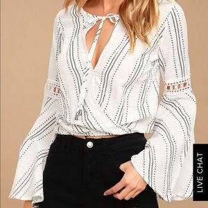 Lulus Standout White Print Long Bell Sleeve Blouse